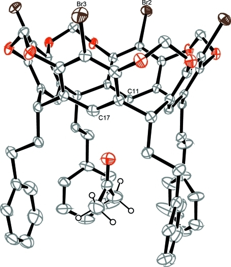 The molecular structure of the title compound viewed from side-on. Displacement ellipsoids are drawn at the 30% probability level and H atoms, where shown, are drawn as spheres of arbitrary radii. The presence of the residual acetone solvent of crystallization is evident below the molecular cavity, between the 2-phenylethyl moieties.