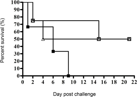 Survival of BALB/c mice immunised with recombinant Omp3 or Omp7 and challenged with B. pseudomallei.Mice were immunised with either Omp3 (open triangles) or Omp7 (open squares) prior to challenge with 1�106 cfu B. pseudomallei by the i.p. route of infection. Both groups immunised with either Omp3 or Omp7 displayed 50% survival rate up to 21 days post-infection. All the control mice (closed squares) received E. coli BL21 (DE3) cells in FIA followed by challenge, and died by day 9 post-challenge.