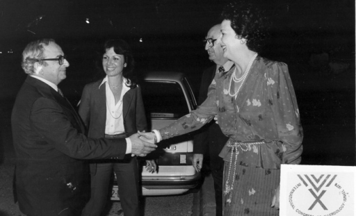 Mrs Eliakima Glazer and Dr Israel Glazer welcoming Mr Yitzhak Navon, President of the State of Israel, to the Convention Center.