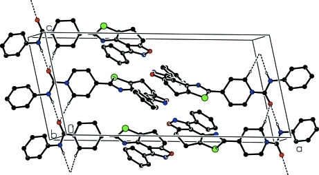 Part of the crystal structure of the title compound with hydrogen bonds drawn as dashed lines. Only H atom involved in hydrogen bonds have been shown.