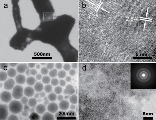 The transmission electron microscopy characterization. (a) The image of the electrodeposit shows the location where high-resolution TEM was performed. (b) High-resolution TEM image at the frame area of image (a) shows two groups of lattice fringes, corresponding to the PbTe(200) and Pb(111) lattice planes. (c) The representative morphology of Zn1�xMnxS nanoparticles. The particle diameter is approximately 100 nm. (d) The high-resolution TEM image of the Zn1�xMnxS nanoparticles. The inset gives the electron diffraction powder pattern of the sample.