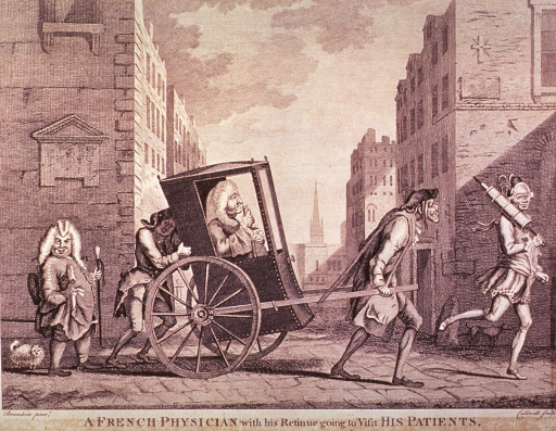 <p>Street scene: A man being drawn in a wheeled chair by an old haggard-looking man, another pushes from behind; preceeding is a footman with a clyster over his shoulder; following is a short, stubby man carrying a walking stick, and trailed by a dog.</p>