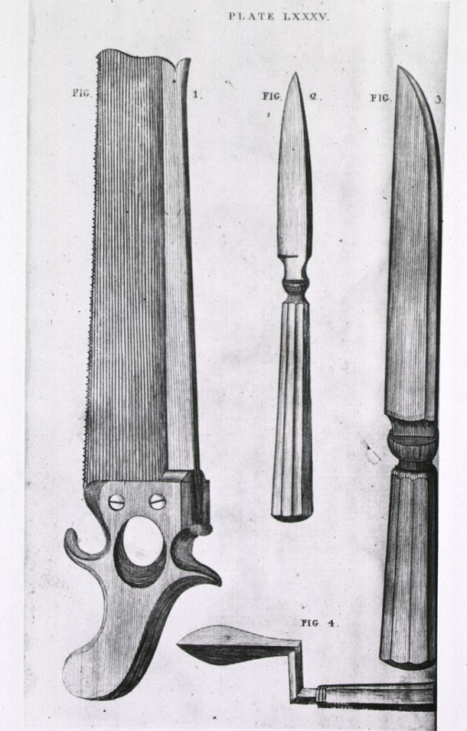 <p>Two types of knives, a saw, and an auger used for trephining.</p>