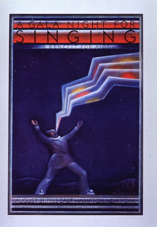 <p>White poster with black lettering announcing concert, August 1985.  Also lists date and sponsors.  Title at top of poster.  Visual image shows a man, dressed in the white clown costume often associated with the stock character Pierrot, singing with arms upraised.  An angular, multicolored stream emerges from the man's mouth, almost as if his singing were visible.  Poster appears to be a limited edition print.  It is signed by the artist and bears the inscription 119/300.</p>