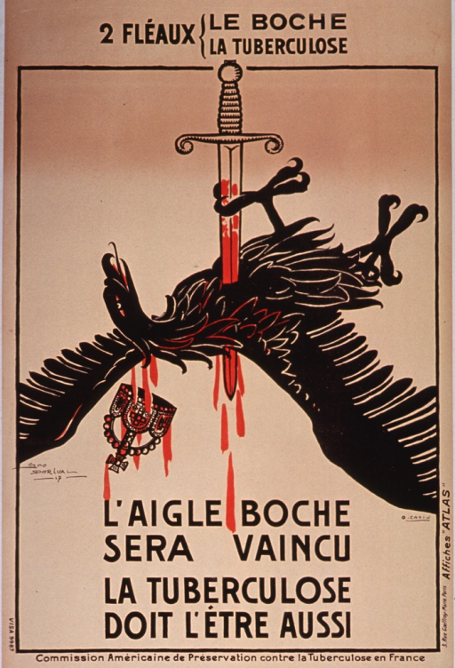 <p>Poster on tan or discolored white paper with black lettering.  Note at top of poster equates tuberculosis and the German enemy (literally, Kraut) as plagues.  Visual image is the German imperial eagle, stabbed in the heart by a long, bloody sword.  A crown falls from the eagle's head.  Title below eagle.  Publisher information on bottom of poster.</p>