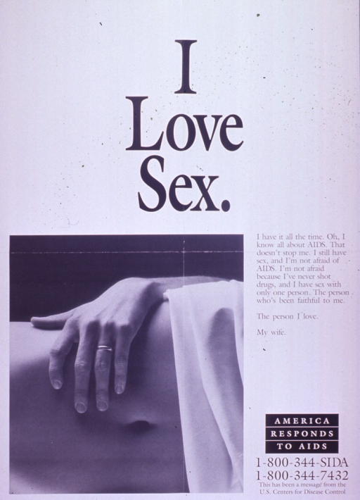 <p>Predominantly white poster with black lettering.  Title at top of poster.  Visual image is a b&amp;w photo reproduction featuring a hand, with a wedding ring on the ring finger, draped over the flank of someone lying on her (?) side. Caption to right of photo.  Note and publisher information in lower right corner.</p>
