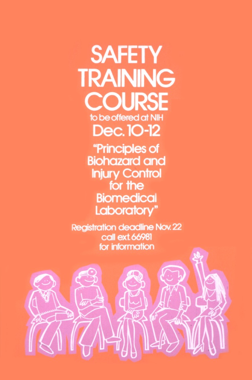 <p>The poster consists chiefly of white text on an orange background.  There are five people, sketched in white on purple, seated in a row.  One woman has her hand raised and one man is dressed to represent a doctor.</p>