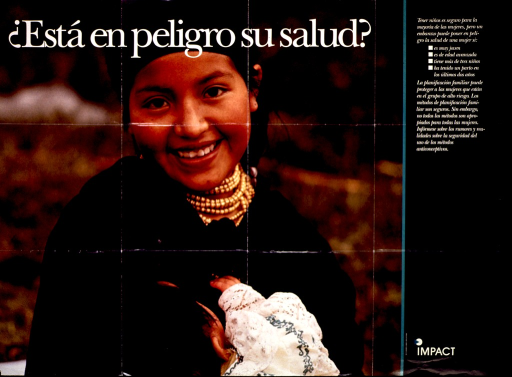 <p>Multicolor poster with white lettering.  Most of poster is a reproduction of a color photo featuring a young woman holding her baby.  Title superimposed on photo.  Additional text on right side of poster discusses factors that can complicate pregnancy, including young age, advanced age, multiple pregnancies, and child spacing, and ways that family planning can improve health.  Publisher information in lower right corner.</p>