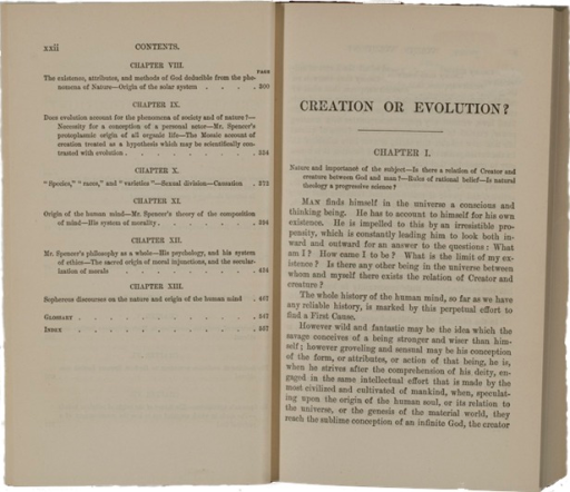 <p>Image of first page of chapter 1 and facing page which shows table of contents, chapters 8-13.</p>