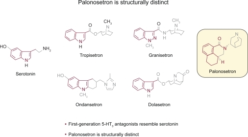 Structures of palonosetron and other 5-HT3 antagonists.Reproduced with permission from Rojas C, Grunberg S, Rosti G. 2007. Creating real benefit for patients at risk of nausea and vomiting: palonosetron-from bench to bedside. Clin Adv Hematol Oncol, 5(12 Suppl 19):1–20.122 Copyright © 2007 Millenium Medical Publishing.