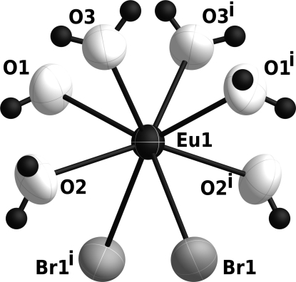 View of the cationic [Eu(H2O)6Br2]+ unit in [Eu(H2O)6Br2]Br, with displacement ellipsoids drawn at the 90% propability level. H atoms are shown as black spheres of arbitrary radii. [Symmetry code: (i) -x, y, 1/2 - z.]