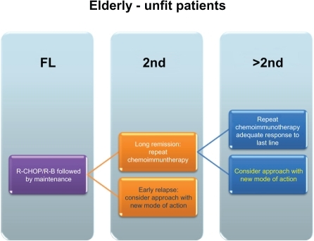 Schematic overview of potential treatment approaches – elderly/unfit patients.Abbreviations: R-CHOP, rituximab, cyclophosphamid, doxorubicin, vincristine, prednison; R-B, rituximab-bendamustine; FL, Firstline treatment; 2nd, second line treatment; >2nd, higher than second line treatments.