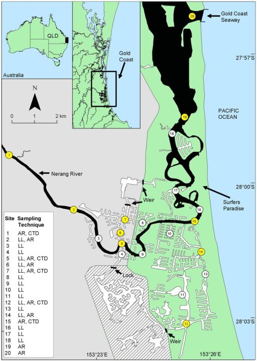 Australia Map Gold Coast.Gold Coast Canal System Map Illustrating The Location O Open I