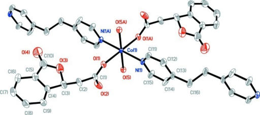 The coordination environment of CoII ion in the title complex (the symmetry code for A: -x + 1, -y + 1, -z + 1).