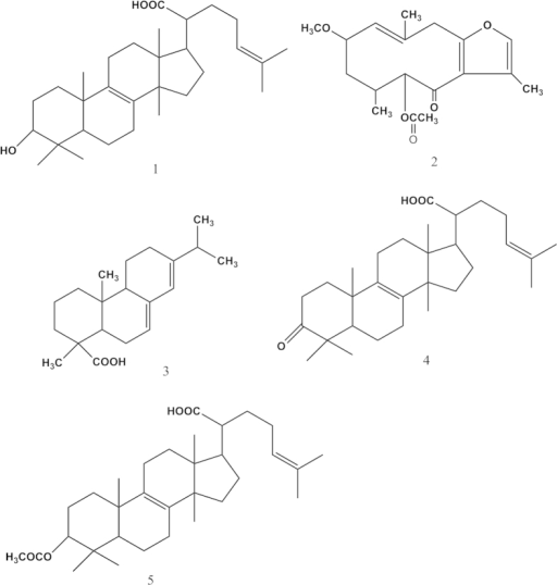 The chemical structures of five bioactive compounds drived from Frankincense (compounds 1, 4, and 5) and Myrrh (compounds 2 and 3) (1. 3-hydroxylanosta-8,24-dien-21-oic-acid; 2. 2-Methoxy-5-acetoxy-fruranogermacr -1(10)-en-6-one; 3. abietic acid; 4. elemonic acid; 5. Acetyl elemolic acid).