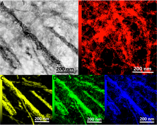 TEM image (A) and element mapping spectra about C (B), V (C), O (D) and N (E) of VOxNy-CNTs.