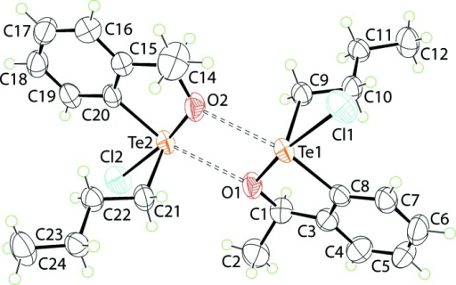 The mol­ecular structures of the two independent mol­ecules comprising the asymmetric unit of (I), showing the atom-labelling scheme and displacement ellipsoids at the 50% probability level. The mol­ecules associate via secondary Te⋯O bonding shown as dashed bonds.