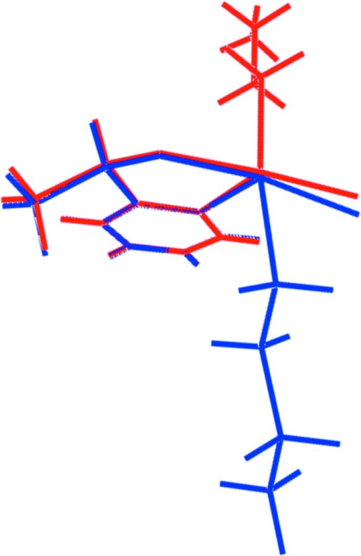 An overlay diagram of the Te1- and Te2-containing mol­ecules, shown as red and blue images, respectively. The mol­ecules have been overlapped so that the phenyl rings are coincident.