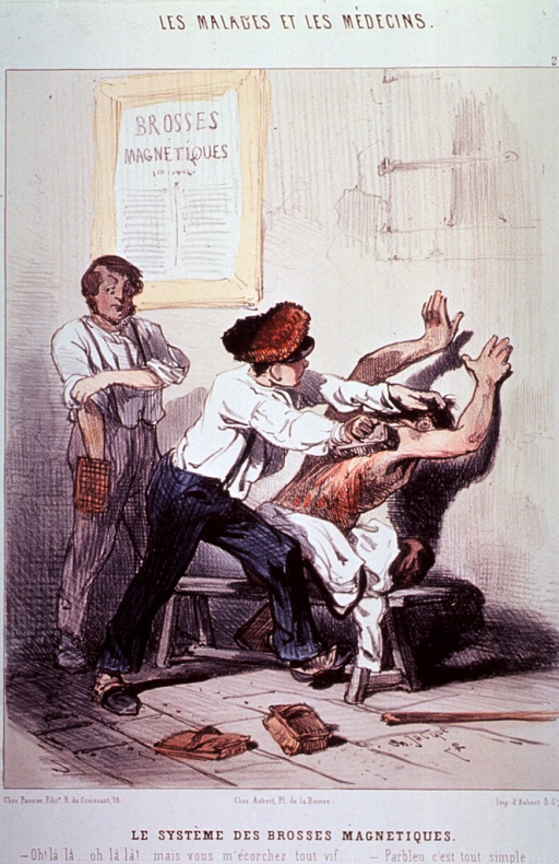 <p>A man stripped to the waist is sitting on a bench and leaning into a wall using his outstretched arms for support; another man is scouring his back with a brush to the point where blood is streaming down; a third man stands to the left holding a brush.</p>