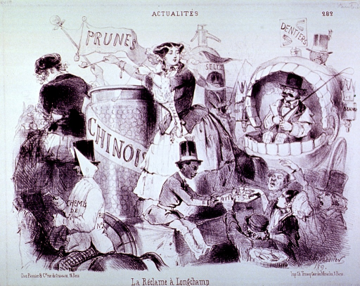 <p>A dentist travels in a carriage fashioned after a set of dentures; a woman is serving from a large container over which flies a banner labelled Prunes; a man on horseback in the foreground.</p>