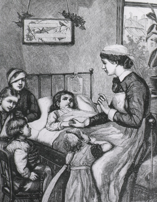 <p>Children patients at bedside of another child patient.  Nurse in attendance.</p>
