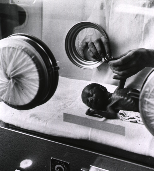 <p>A nurse is bathing an infant in an incubator.</p>