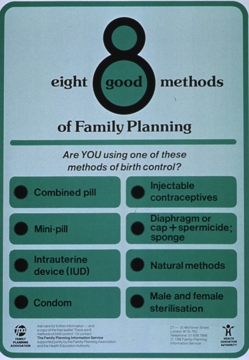 <p>Green poster with black lettering.  Title at top of poster.  Title word 'good' sits in the lower circle of the number 8.  Note below title.  Lower portion of poster lists the eight methods of birth control in two columns.  Methods include pills, injectable contraceptives, barrier methods like condoms and diaphragms, natural methods, and sterilization.  Bottom of poster features publication and sponsor information, plus sponsor logos.</p>