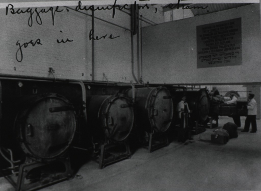 <p>Large pressure chambers where overseas passengers' baggage was placed for steam disinfection.</p>