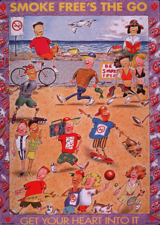 <p>Multicolor poster.  Title at top of poster.  Visual image is an illustration of several people engaging in different sports and activities while at the beach.  Many of the people have no-smoking logos on their clothes; there are also signs posted about not smoking.  Caption and publisher information at bottom of poster.</p>