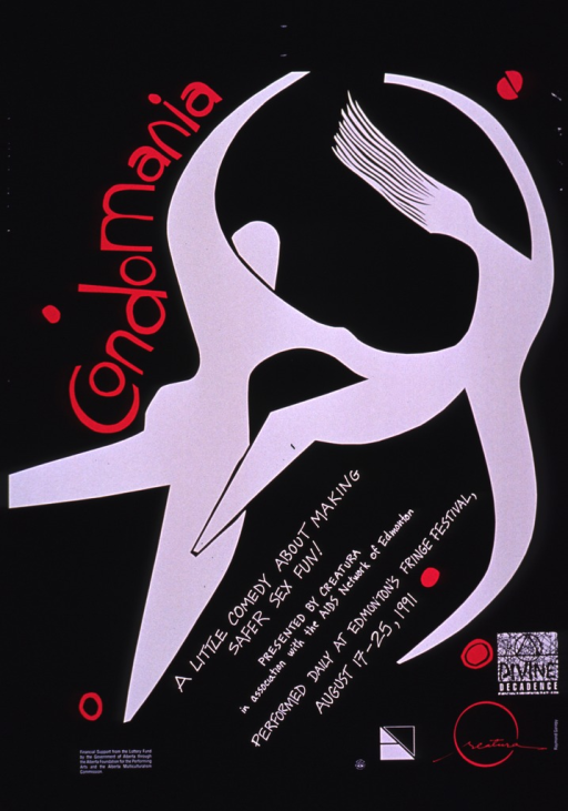 <p>Predominantly black poster with magenta and white lettering advertising a show that was performed during Edomonton's Fringe Festival.  Title near upper left corner.  Visual image is an abstract illustration of two human figures dancing.  Note and publisher information below illustration.  Sponsor information in lower left corner.  Logo for Divine Decadence in lower right corner.</p>