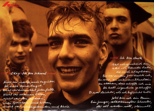 <p>Sepia-toned photograph of three young men, one in the foreground smiling, the two others in the background facing the same camera.  The text, in white letters and two columns, is printed as if in the handwriting of the young man.  The logo of Deutsche AIDS-Hilfe appears in red in the upper left corner.</p>