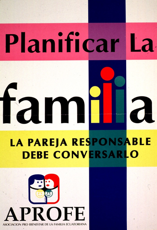<p>Multicolor poster.  Poster dominated by title.  Sole visual image is the publisher's logo, a slightly abstract illustration of a four-member family.  Publisher information in lower left corner.</p>