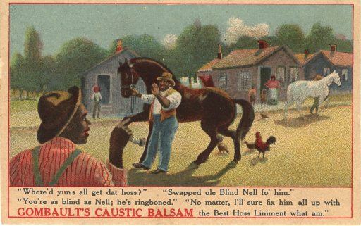 <p>Multicolor card with black and red lettering.  Visual image is a rural scene featuring African Americans.  Two men in the foreground discuss a brown horse; one of the men holds the horse by its rein.  A cluster of houses, some people, some chickens, and another horse are visible in the background.  Title taken from caption based on typography.  Caption below drawing.  Verso provides product testimonials and proprietor/publisher information.</p>