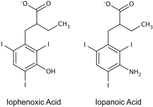 Chemical structures of iophenoxic acid and iopanoic acid.