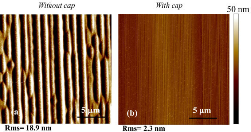 AFM images of the Al+-implanted and annealed 4H-SiC surface. (a) Sample annealed at 1700°C without a protective carbon capping layer. (b) Sample annealed at 1700°C with a protective carbon capping layer.