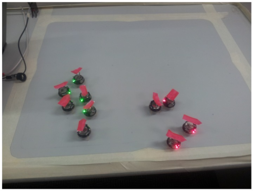 Setup for the kilobot experiments.The arrow marks the current heading of each bot.