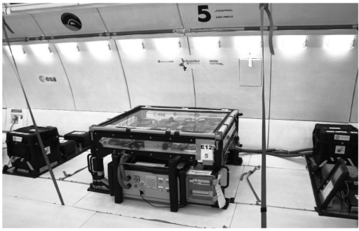 Final prototype configuration.This picture shows the final configuration of the experiment on board the parabolic aircraft. The three racks presented were, from left to right: storage rack, main rack, fluids and control rack. All principal electric components were placed in a sealed fire-proof cabinet underneath the main rack to protect the equipment from water contact in case of failure of the containment system.