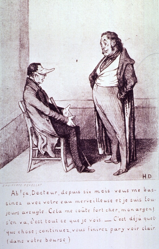 <p>A man is sitting in a chair, he has a visor over his eyes and a cane between his legs, he is complaining to the doctor (Robert Macaire), standing before him, about the ineffectiveness of the treatment he has been receiving.</p>