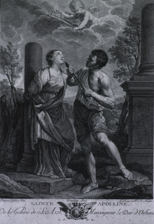 <p>Full length, tied to a pillar, looking up; a man is about to pull her teeth; a cherub among the clouds is offering a palm frond to Apollonia.</p>