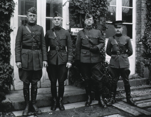 <p>Group: showing Piersol, J.W. Hanner, W.H. Lloyd, and B.F. Horowitz; all standing, full length, full face; wearing uniforms and caps.</p>