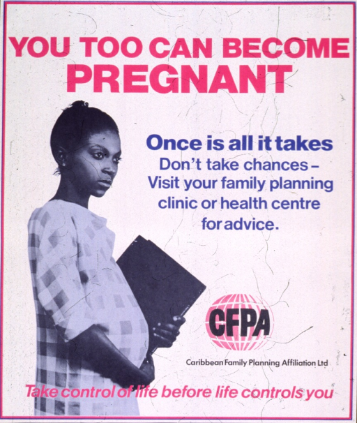 <p>White poster with multicolor lettering.  Title at top of poster.  Visual image is a photo reproduction showing a pregnant young woman carrying schoolbooks.  Caption on right side of poster below title.  Publisher logo near lower right corner.  Note at bottom of poster.</p>