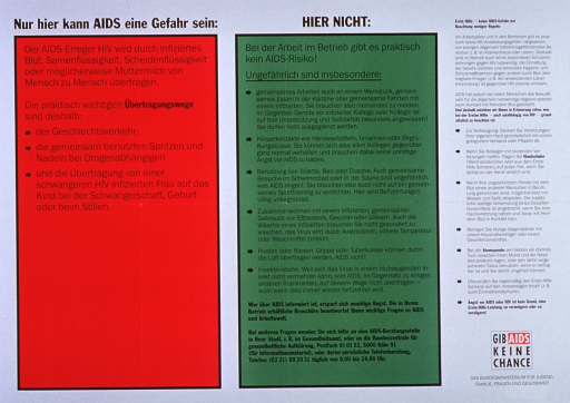 <p>White background with black lettering. Poster is all text and divided into three sections. The section on the left is red-shaded and headed by the title. It lists the behaviors that could be risky for contracting AIDS. The middle section is green-shaded and headed by the subtitle. It lists behaviors that won't increase the risk of contracting AIDS. The last section is headed by: &quot;Erste Hilfe -- keine AIDS-Gefahr bei Beachtung weniger Regeln&quot; and is a listing of preventive measures that decrease the chance of contracting AIDS, if exposure might have occurred. Below this last section is the slogan: &quot;Gib AIDS Keine Chance&quot; and then the publisher name below that.</p>