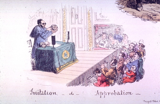 <p>A man is on stage.  The audience is applauding.</p>