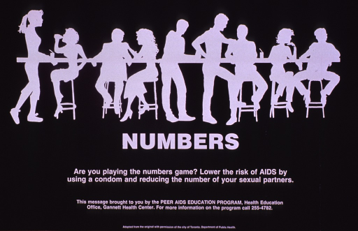 <p>Predominantly black poster with white lettering.  Visual image is a silhouette of men and women sitting and standing at a bar.  Title below image, caption below title.  Publisher information near bottom of poster.</p>