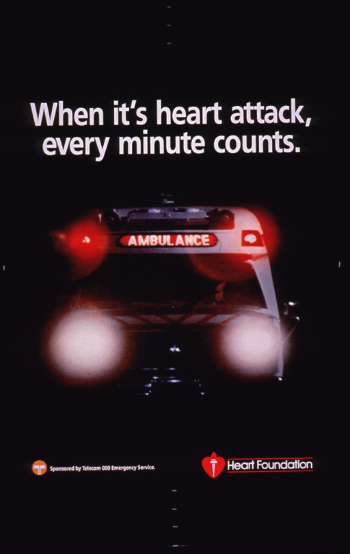 <p>Multicolor poster with white lettering.  Title at top of poster.  Visual image is a color photo reproduction featuring an oncoming ambulance.  The headlights, sign, and flashers are the most visible features.  Publisher and sponsor information at bottom of poster.</p>