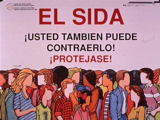 <p>Predominantly white poster with red and black lettering.  Publisher information in English and French at top of poster.  Title dominates upper portion of poster.  Visual image is an illustration of a diverse crowd of people.  The people are all faceless.</p>