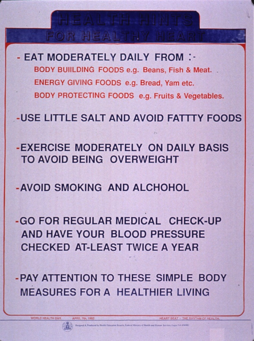 <p>Predominantly white poster with blue and red lettering.  Title at top of poster.  Poster is all text, providing tips about eating a variety of foods, exercising, watching weight and blood pressure, and having regular medical care.  Note text and publisher information at bottom of poster.</p>
