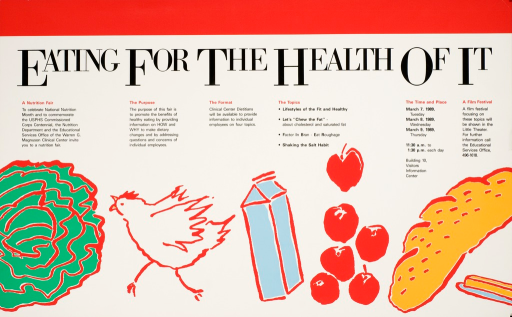 <p>A chicken, a carton of milk, six apples, a loaf of bread, and butter are used to promote a nutrition fair celebrating National Nutrition Month, and to commemorate the USPHS Commissioned Corps Centennial.</p>