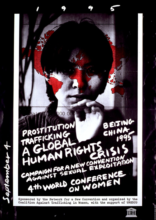 <p>Black and white background with white lettering. The date &quot;1995&quot; is at top. Most of poster is black and white photograph of young woman with red-colored map of world overlaying her face. Bottom half of photograph is overlayed with white text. The date &quot;September 4&quot; is printed vertically on lower left side. Sponsorship statement is just below the photograph. Unesco logo is at bottom.</p>