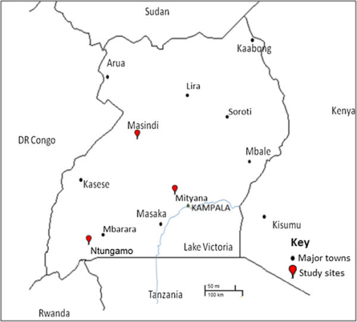 Map Of Uganda Showing The Three Study Districts With The Red Indicator Major